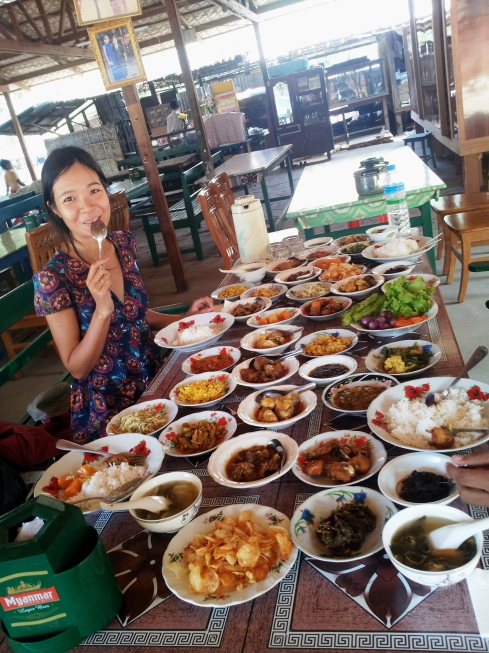 traditional burmese food buffet, enormous, delicious